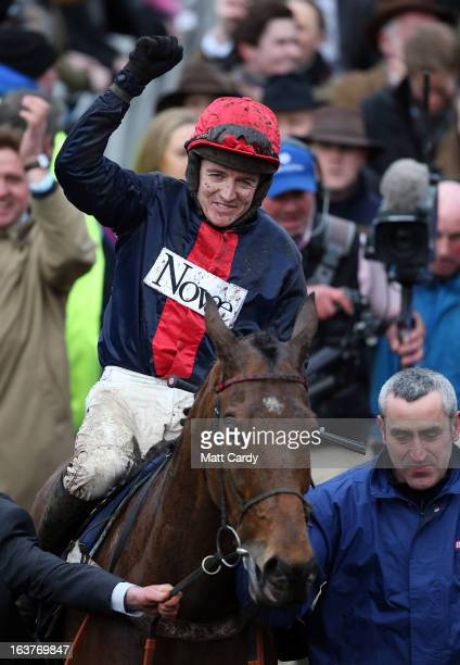 Bobs Worth is ridden by Barry Geraghty into the parade ring after winning the Gold Cup at Cheltenham Racecourse on the fourth and final day of the...