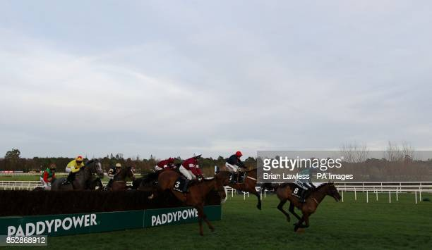 Bobs Worth ridden by Barry Geraghty clears the last first time around on the way to winning the Lexus Steeplechase during day three of the...