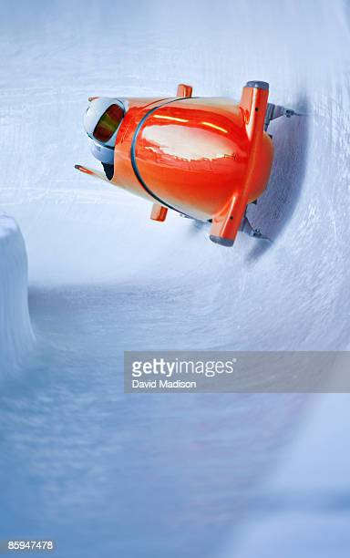 bobsled on track. - bobsleigh stock pictures, royalty-free photos & images