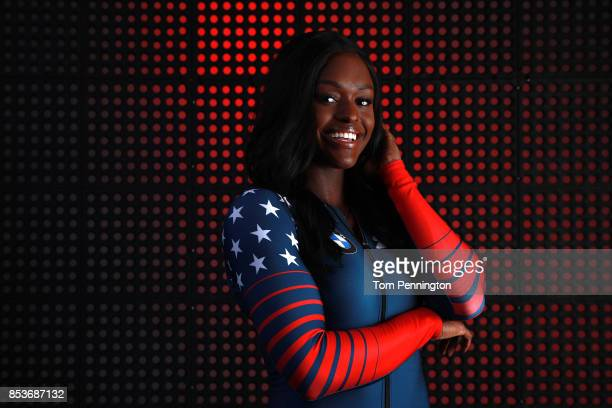 Bobsledder Aja Evans poses for a portrait during the Team USA Media Summit ahead of the PyeongChang 2018 Olympic Winter Games on September 25 2017 in...