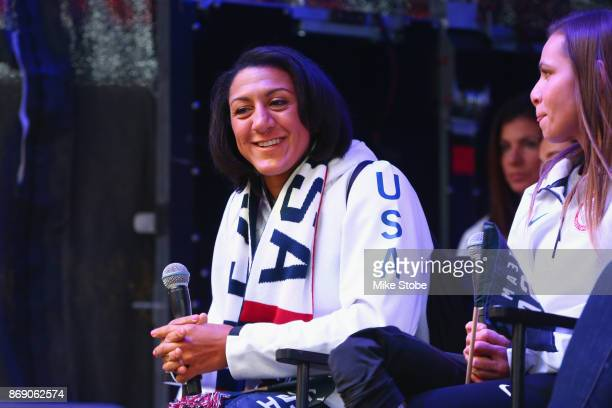 Bobsledder Elana Meyers Taylor attends the 100 Days Out 2018 PyeongChang Winter Olympics Celebration Team USA in Times Square on November 1 2017 in...