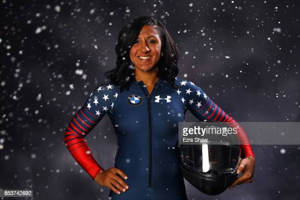 Bobsledder Elana Meyers Taylor poses for a portrait during the Team USA Media Summit ahead of the PyeongChang 2018 Olympic Winter Games on September...