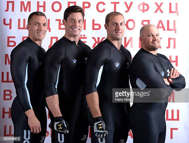 Bobsledders Chris Fogt Steve Langton Curt Tomasevicz and Steve Holcomb pose for a portrait during the USOC Media Summit ahead of the Sochi 2014...