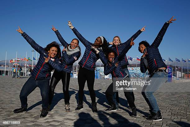 Bobsledders Elana Meyers Lolo Jones Aja Evans Lauryn Williams Jamie Greubel and Jazmine Fenlator of the United States visit the set of The Today Show...