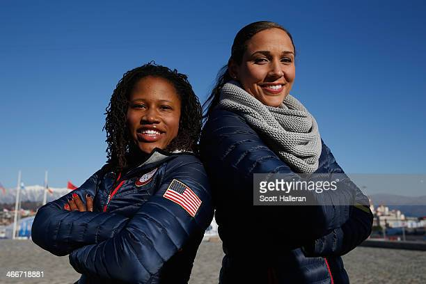 Bobsledders Lauryn Williams and Lolo Jones of the United States visit the set of The Today Show ahead of the 2014 Winter Olympics in the Olympic Park...