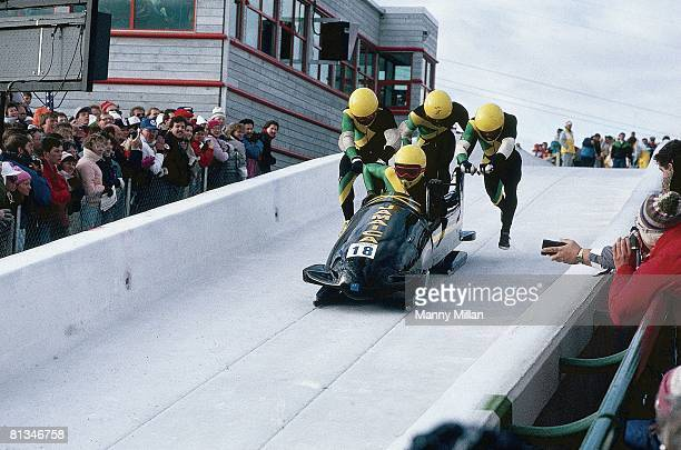 Bobsleigh: 1988 Winter Olympics, JAM four man team in action, Calgary, CAN 2/13/1998