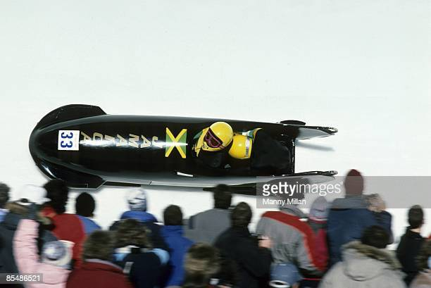 1988 Winter Olympics Jamaica Dudley Stokes and Michael White in action during twoman event at at Canada Olympic Park Calgary Canada 2/21/1988 CREDIT...