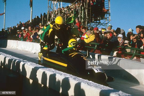 1988 Winter Olympics Team Jamaica Devon Harris Dudley Stokes Michael White and Nelson Stokes in action at start of Four Man competition at Canada...