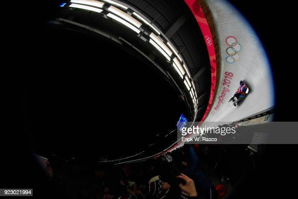 2018 Winter Olympics Aerial view of USA Elena Meyers Taylor and Lauren Gibbs in action during Women's Heat 3 at Olympic Sliding Centre PyeongChangGun...