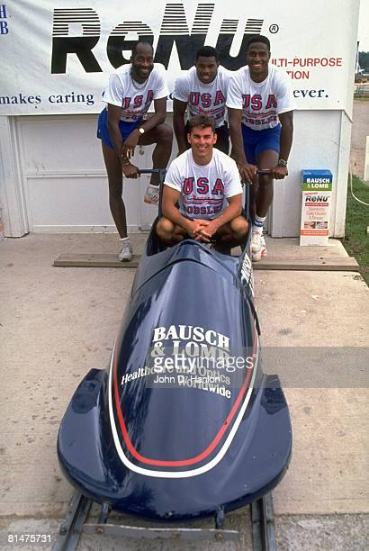 Bobsleigh Portrait of Team USA Brian Shimer with Edwin Moses Herschel Walker and Willie Gault during trials Lake Placid NY 7/14/1990