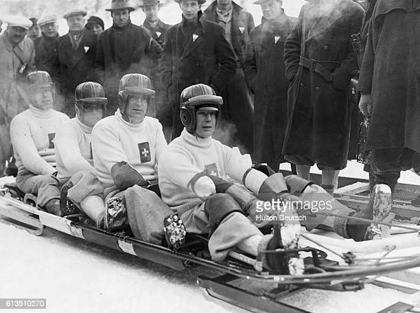 A bobsleigh team at the 1936 Winter Olympics | Location Garmisch Germany