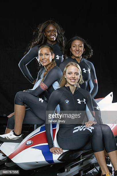 Winter Games Preview Portrait of Team USA Aja Evans Elana Meyers Katie Eberling and Lolo Jones during USOC Media Summit photo shoot at Grand Summit...