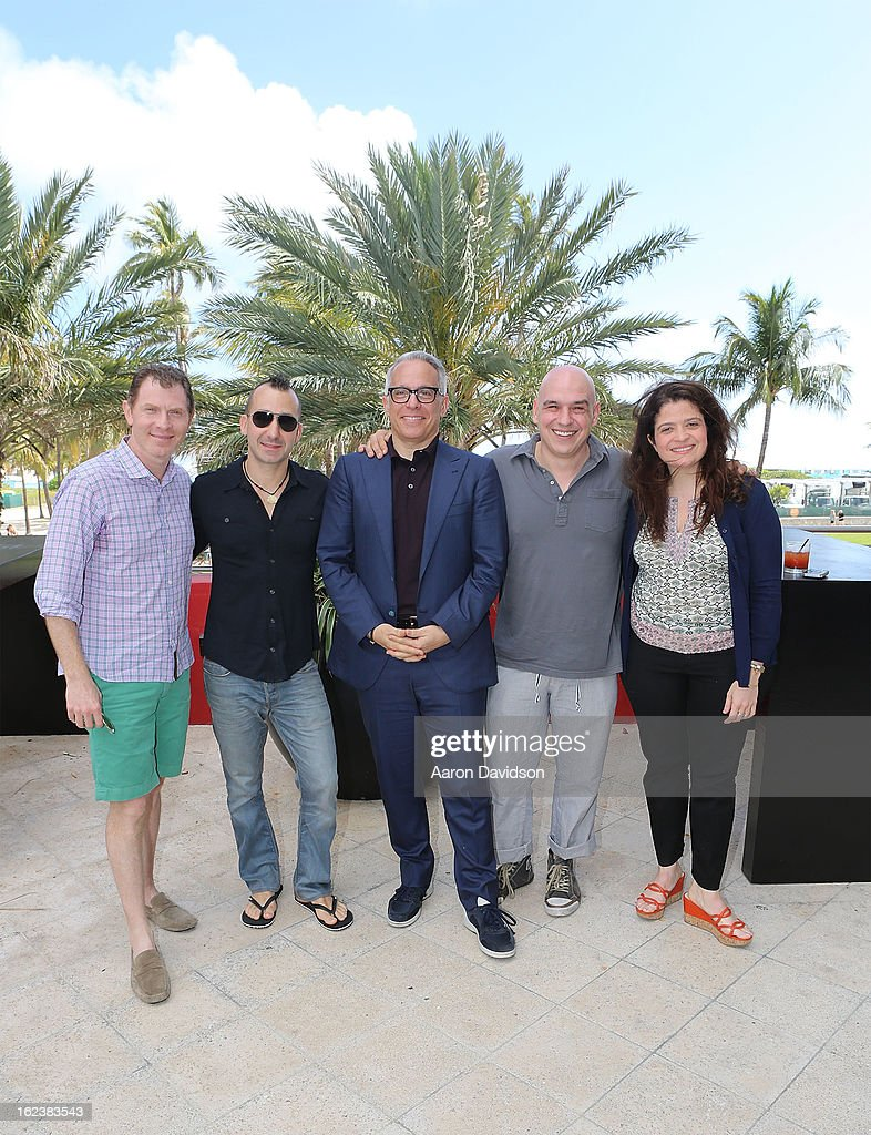 Boby Flay , Marc Forgione, Geoffrey Zakarian, Michael Symon, and Alexandra Guarnaschelli attend What It Takes To Be An Iron Chef at Hotel Victor on February 22, 2013 in Miami Beach, Florida.
