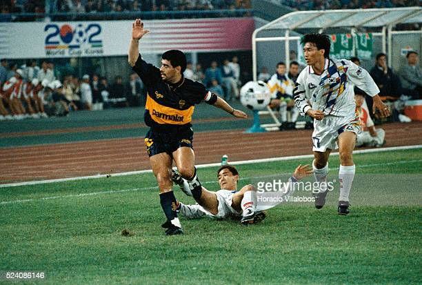 Boca Junior vs South Korea in Seoul Diego Maradona in action