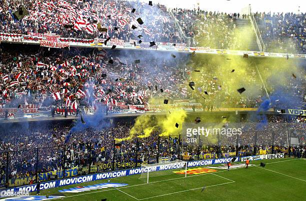 Boca Juniors and River Plate's fans cheer their teams before the start of the 14th round match of the Argentinean Closing Tournament in La Bombonera...