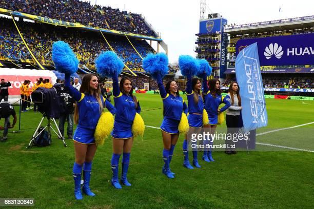 Boca Juniors cheerleaders await the teams ahead of the Torneo Primera Division match between Boca Juniors and River Plate at Estadio Alberto J...