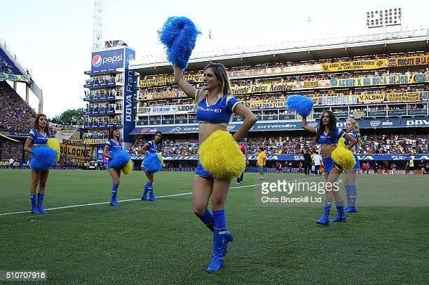Boca Juniors cheerleaders perform ahead of the Argentine Primera Division match between Boca Juniors and Atletico Tucuman at the Alberto J Armando...
