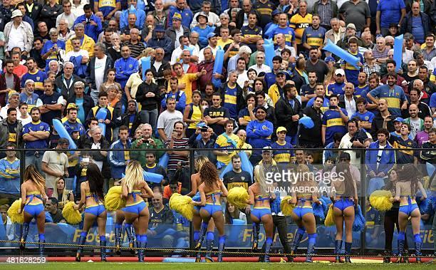 Boca Juniors cheerleaders perform before the Argentine first division football match between Boca Juniors and River Plate at La Bombonera stadium in...