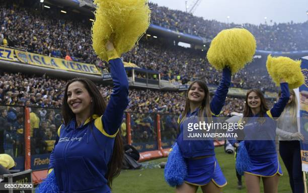 Boca Juniors' cheerleaders perform before the start of the Argentina first division football match against River Plate at the La Bombonera stadium in...