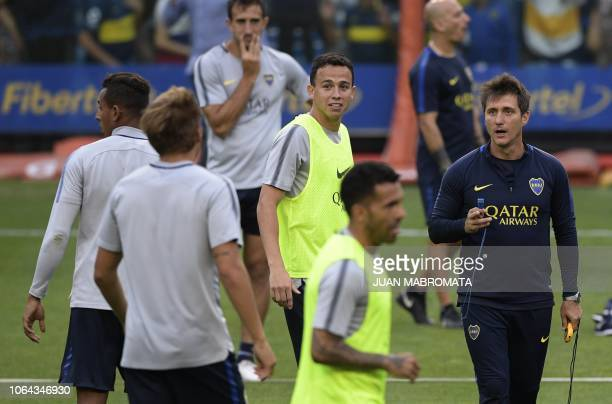 Boca Juniors' coach Guillermo Barros Schelotto conducts an open training session at the La Bombonera stadium in Buenos Aires on November 22 ahead of...