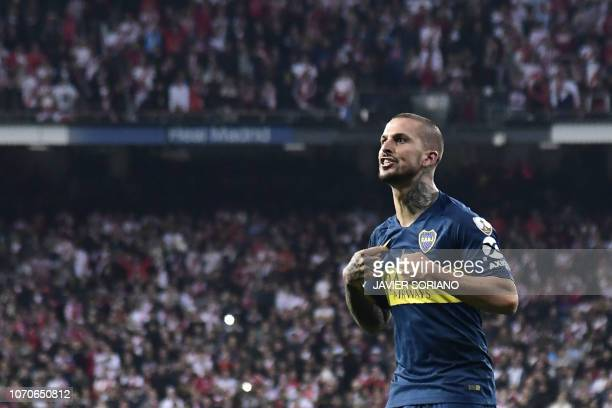 Boca Juniors' Dario Benedetto celebrates after scoring against River Plate during the second leg match of their allArgentine Copa Libertadores final...