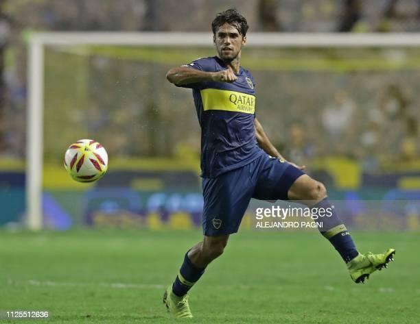 Boca Juniors' defender Emmanuel Mas controls the ball during the Argentina First Division Superliga football match against Lanus at La Bombonera...
