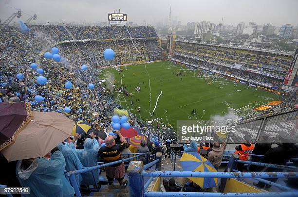 Boca Juniors' fans cheer their team up prior to the match Boca v River Plate as part of the 2010 Clausura Primera A on March 21 2010 in Buenos Aires...