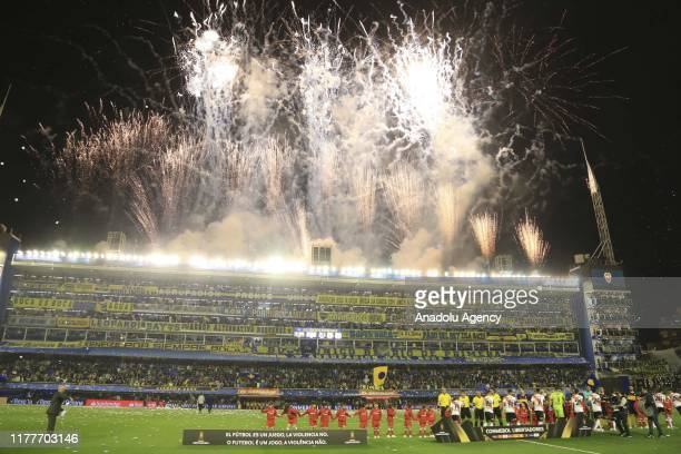 Boca Juniors fans show their support during the match against River Plate, validated by the semifinal of the Copa Libertadores de America, at the...