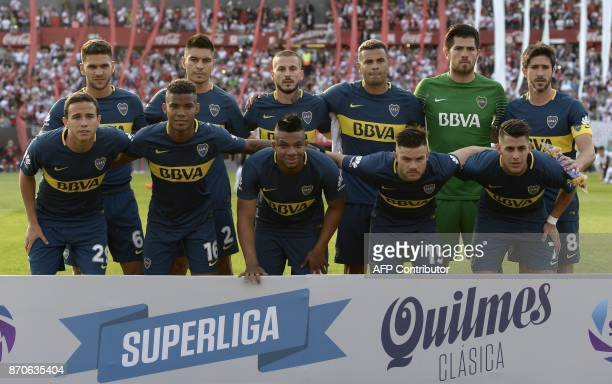 Boca Juniors' football team poses before their Argentine derby match against River Plate in the Superliga first division tournament at Monumental...