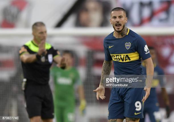 Boca Juniors' forward Dario Benedetto gestures during the Argentine derby match between River Plate and Boca Juniors in the Superliga first division...