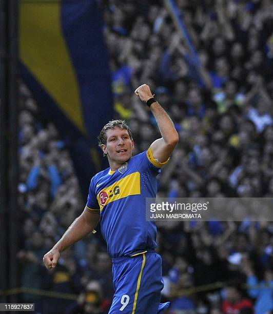 Boca Juniors forward Martin Palermo celebrates after scoring the team's second goal against River Plate's during their Argentine first division...