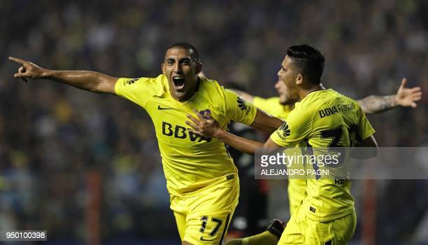 Boca Juniors' forward Ramon Abila celebrates after scoring a goal against Newell's Old Boys during their Argentina First Division Superliga football...