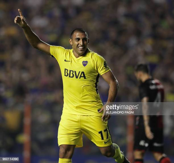 Boca Juniors' forward Ramon Abila celebrates after scoring the team's second goal against Newell's Old Boys during their Argentina First Division...
