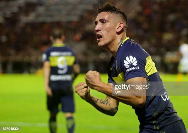 Boca Juniors' forward Ricardo Centurion celebrates after scoring the team's second goal against Aldosivi at Jose Maria Minella stadium in Mar del...