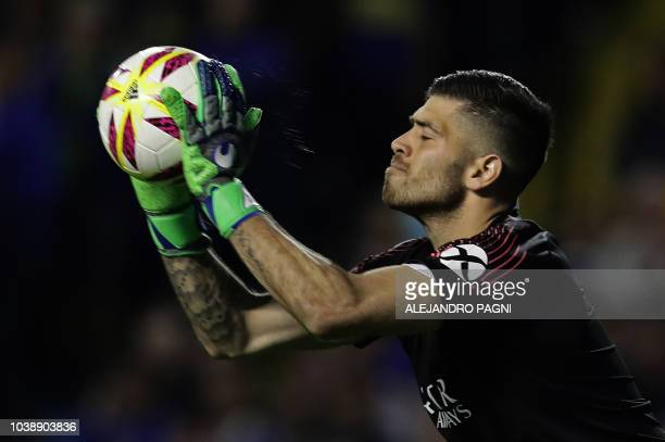 Boca Juniors' goalkeeper Agustin Rossi catches the ball during an Argentina First Division Superliga football match against River Plate at La...