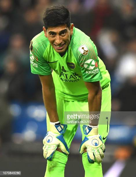 Boca Juniors' goalkeeper Esteban Andrada gestures during the second leg match of their allArgentine Copa Libertadores final against River Plate at...