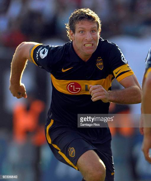 Boca Junior´s Martin Palermo celebrates a scored goal during the Argentinean Championship Primera A match against River Plate on October 25 2009 in...