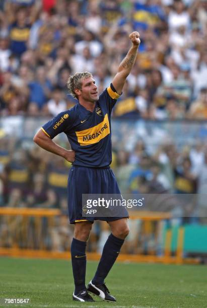 Boca Juniors' Martin Palermo celebrates after scoring a goal against Argentinos Juniors during their Argentina first division football match in...