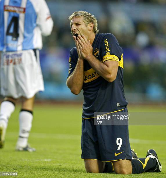 Boca Juniors' Martin Palermo reacts after missiing a chance against Gimnasia de Jujuy during their Argentina first division football match in Buenos...