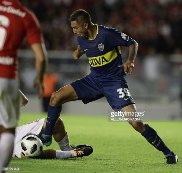 Boca Juniors' midfielder Agustin Almendra during their Argentina First Division Superliga football match against Independiente at the Libertadores de...