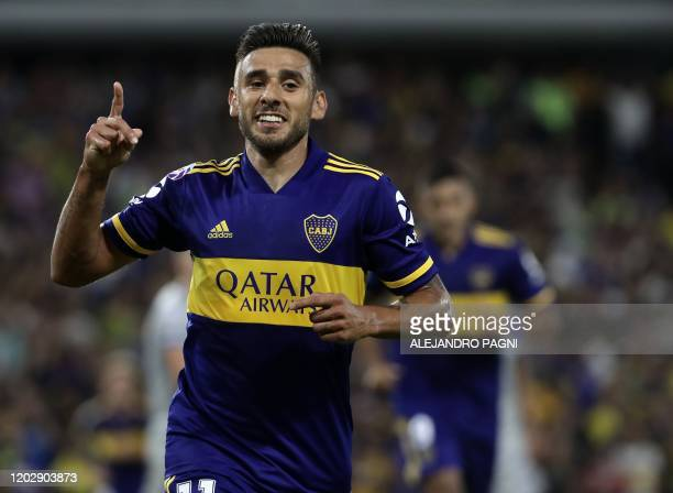 Boca Juniors' midfielder Eduardo Salvio celebrates after scoring the team's second goal against Godoy Cruz during their Argentina First Division 2020...