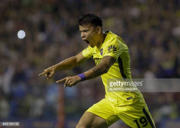 Boca Junior's player Walter Bou celebrates after scoring a goal against Defensa y Justicia during their Argentina First Division Superliga football...