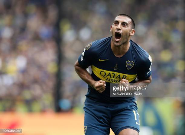 TOPSHOT Boca Juniors' Ramon Abila celebrates after scoring against River Plate during their first leg match of the allArgentine Copa Libertadores...