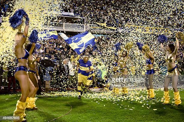 Boca Juniors soccer team cheerleaders are seen as they perform during the match between Boca Junior and Godoy Cruz at La Bombonera stadium on May 27...