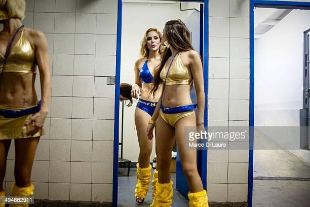 Boca Juniors soccer team cheerleaders are seen as they prepare to perform during the match between Boca Junior and Godoy Cruz at La Bombonera stadium...