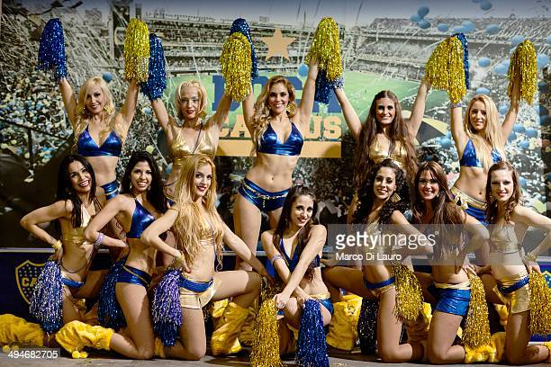 Boca Juniors soccer team cheerleaders are seen during a photo opportunity after performing during the match between Boca Junior and Godoy Cruz at La...
