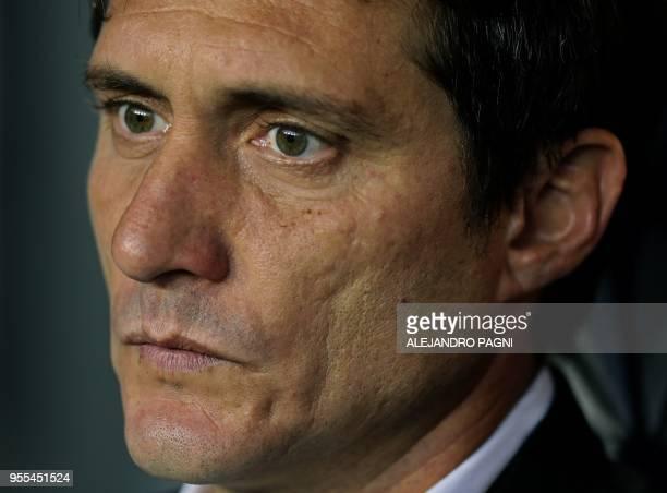 Boca Juniors' team coach Guillermo Barros Schelotto gestures during their Argentina First Division Superliga football match against Union at La...