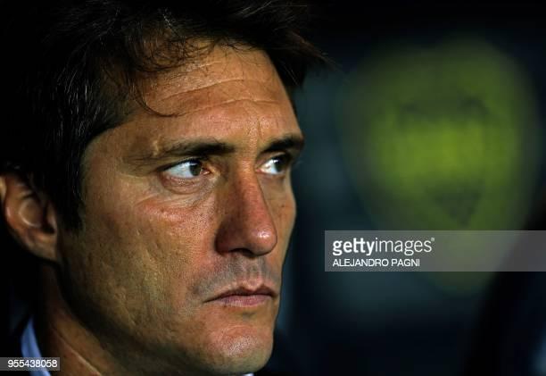 Boca Juniors' team coach Guillermo Barros Schelotto watches the Argentina First Division Superliga football match against Union at La Bombonera...