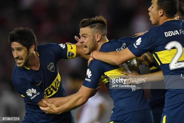 Boca Juniors' Uruguayan midfielder Nahitan Nandez celebrates after scoring against River Plate during the Argentine derby match in the Superliga...