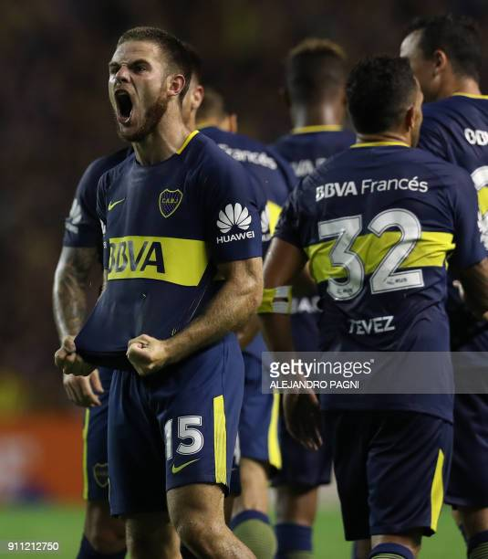 Boca Juniors' Uruguayan midfielder Nahitan Nandez celebrates after scoring the team's second goal against Colon during their Argentina First Division...